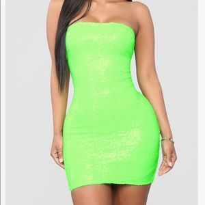 Neon Green Sequined Tube Dress - Size Small